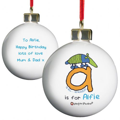 Personalised Bang On The Door Animal Alphabet Boys Bauble